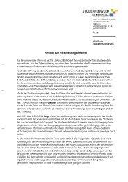 Hinweise zum Vorausleistungsverfahren - Studentenwerk Ulm