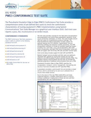 AX4000 PWE3 Conformance Test Suite - Spirent Communications