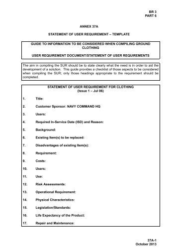 Role statement template for for User requirement document template