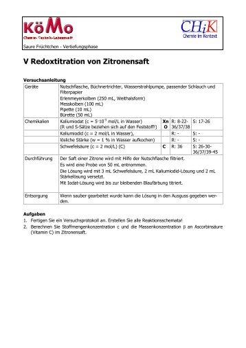 AB Redoxtitration von Zitronensaft - Chik.die-sinis.de