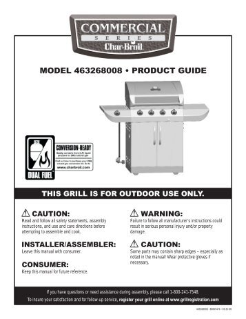 MODEL 463268008 • PRODUCT GUIDE - Char-Broil Grills