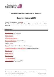 Umsetzung der Bundesinitiative Netzwerke Frühe Hilfen