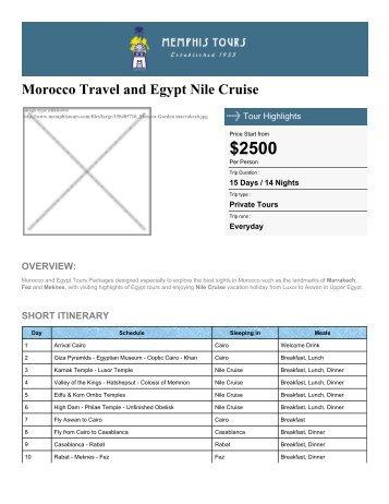 Morocco & Egypt Nile Cruise - Memphis Tours Egypt
