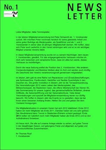 Newsletter 01 / 2013 - TC Stadecken-Elsheim