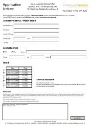 Application form for exhibitors 2013 - Viennatime