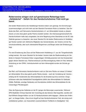"""""""Hellebächel"""" - Gefahr für das Handschuh - Stadtpolitik Heidelberg"""