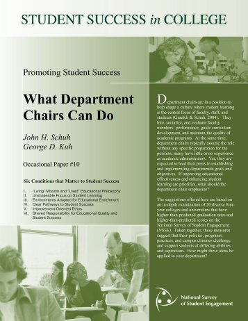 Promoting student success: What department chairs can do. - NSSE