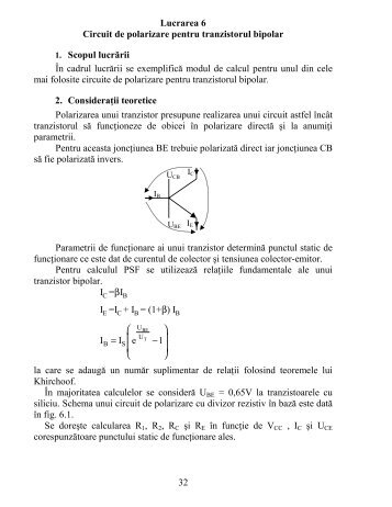 32 Lucrarea 6 Circuit de polarizare pentru tranzistorul bipolar 1 ...