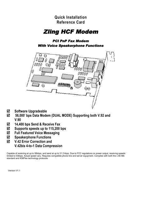 HCF 56K PCI DRIVERS (2019)