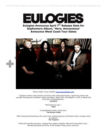 Eulogies Announce April 7th Release Date for ... - +1 Records