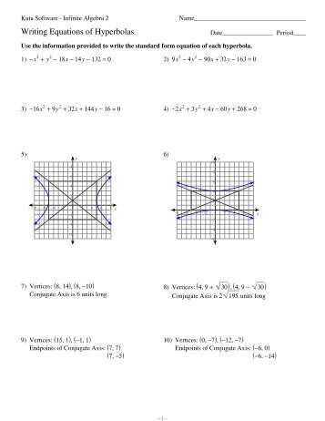 Equations of Hyperbolas - Kuta Software
