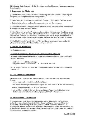 Richtlinie der Stadt Otterndorf für die Gewährung von Zuschüssen ...
