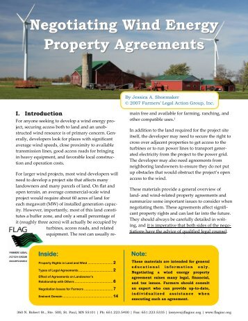 Negotiating Wind Energy Property Agreements - Farmers' Legal ...