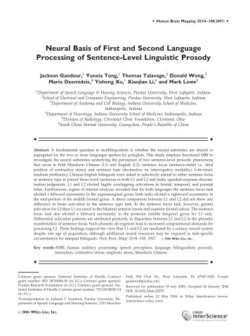 Neural basis of first and second language ... - Purdue University