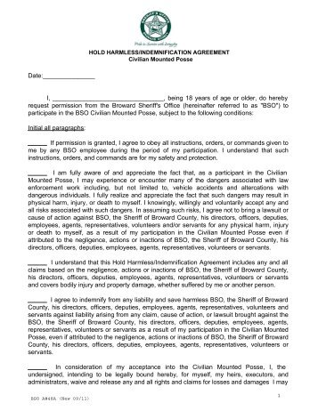 Hold Harmless Agreement   Broward Sheriffu0027s Office  Deed Of Release And Indemnity