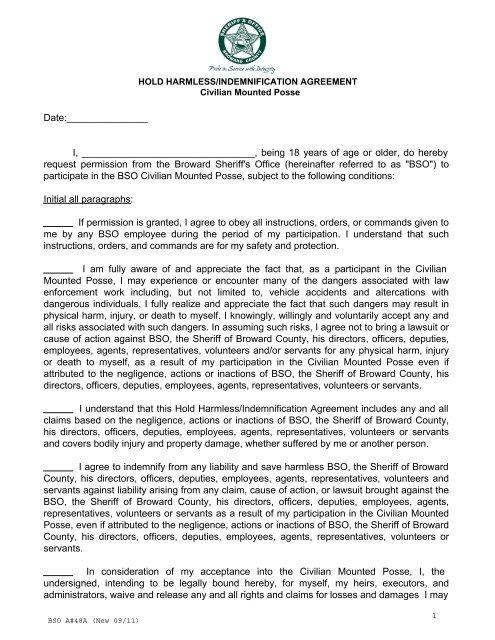 Hold Harmless Agreement - Broward Sheriff's Office