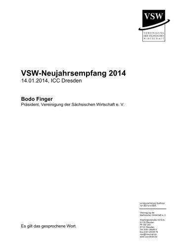 Rede des VSW-Präsidenten Bodo Finger zum Neujahrsempfang 2014