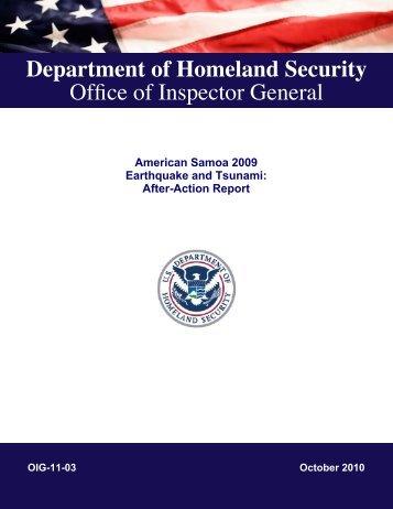 OIG-11-03 - Office of Inspector General - Homeland Security