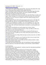 Erntedank 2011 IIIW 5. Mose 26, 1-11 Darbringung der Erntegaben ...