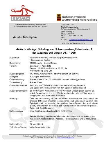 Ausschreibung U15 - TTVWH Bezirk Allgäu-Bodensee