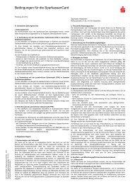 Bedingungen f r die SparkassenCard - Sparkasse Hildesheim