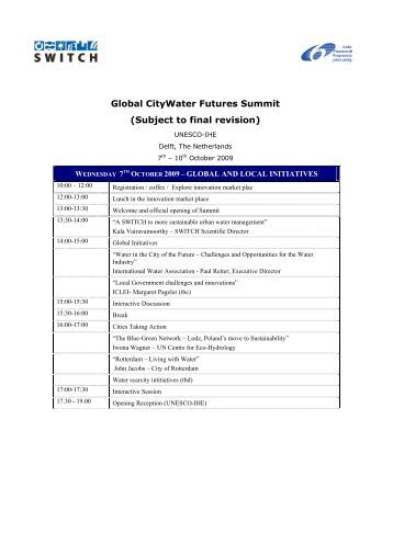 Global CityWater Futures Summit - Managing Water for the City of ...