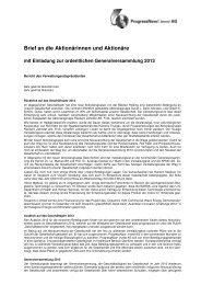 Brief an die Aktionärinnen und Aktionäre 2012 - ProgressNow ...