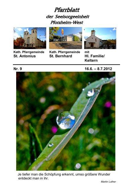Pfarrblatt Nr. 9 -2012 - bei der Seelsorgeeinheit Pforzheim West