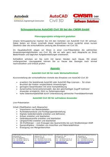 Schnupperkurse Autocad Civil 3D bei der CWSM Gmbh Agenda