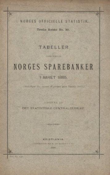 Tabeller vedkommende Norges sparebanker i Aaret 1885