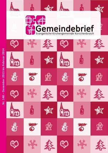 Gemeindebrief Nr. 148 - Evangelische Kirchengemeinde ...