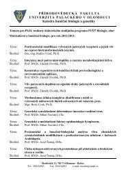 Témata doktorských disertačních prací oboru Molekulární a buněčná ...