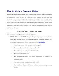 How to Write a Personal Vision