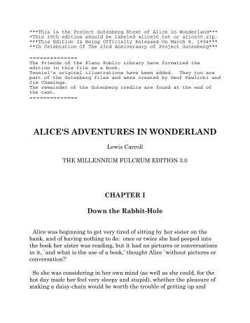 This is the Project Gutenberg Etext of Alice in Wonderland