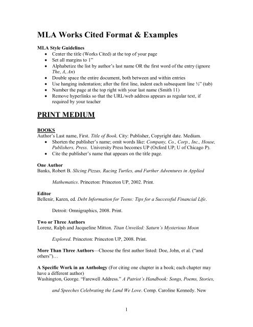 Mla Works Cited Template | Mla Works Cited Format Examples Schoolrack