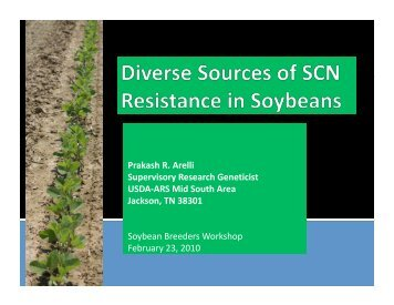 Diverse sources of resistance to SCN in soybean - SoyBase