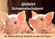 Programm Schweinefachabend in Pyhra - Landwirt.com
