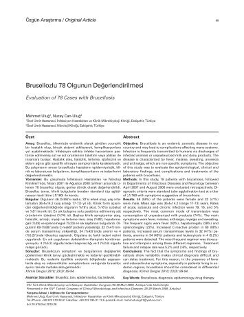Brusellozlu 78 Olgunun Değerlendirilmesi - Klimik Dergisi