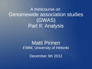Genomewide association studies (GWAS) Part II: Analysis Matti ...