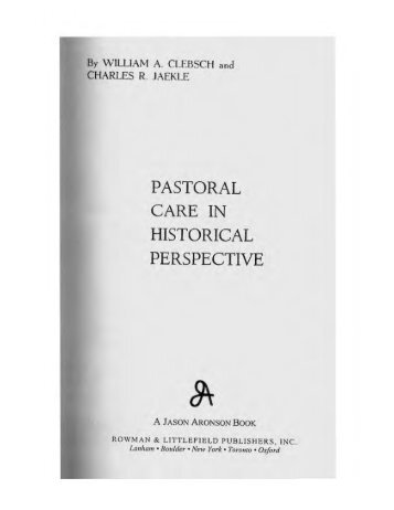 pastoral care in historical perspective - Bishopdale Theological ...