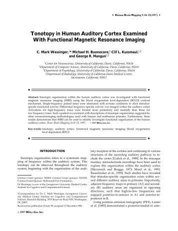 Tonotopy in human auditory cortex examined ... - Purdue University