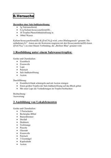 Korrosion - Versuche - Stromberg-Gymnasium
