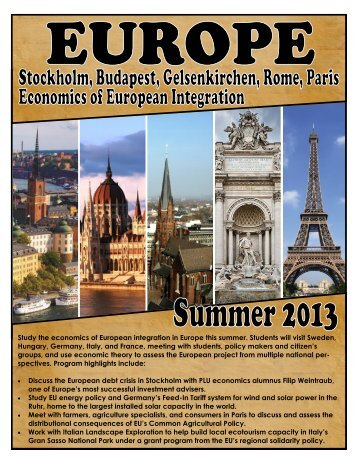 Study the economics of European integration in Europe this summer ...