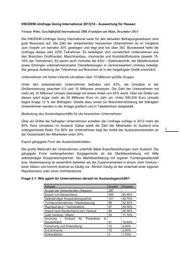 1 IHK/DIHK-Umfrage Going International 2013|14 ... - IHK Fulda