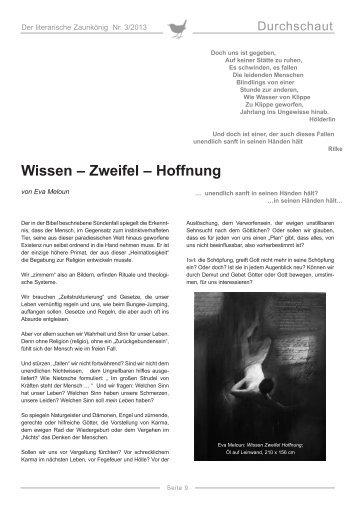 Eva Meloun: Wissen Zweifel Hoffnung - Erika Mitterer Gesellschaft