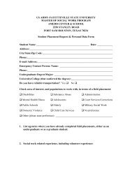Student Placement Request and Personal Data Form - Fayetteville ...