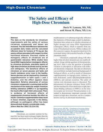 The safety and efficacy of high-dose chromium - Thorne Research