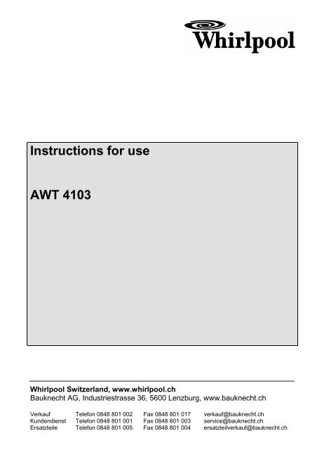 Instructions For Use Awt 4103 Whirlpool