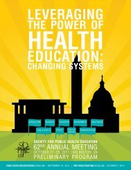 changing systems - Society for Public Health Education