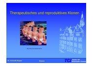 Therapeutisches und reproduktives Klonen - TCI @ Uni-Hannover.de